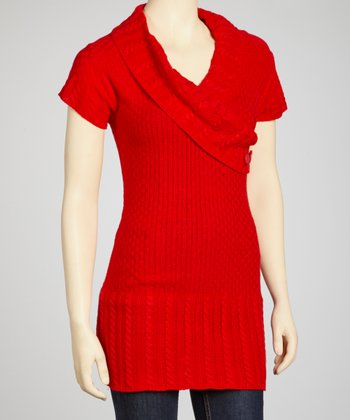 Red Short-Sleeve Surplice Sweater