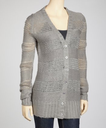 Heather Grey Open Knit Stripe Cardigan
