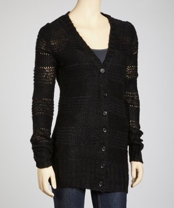 Black Open Knit Stripe Cardigan
