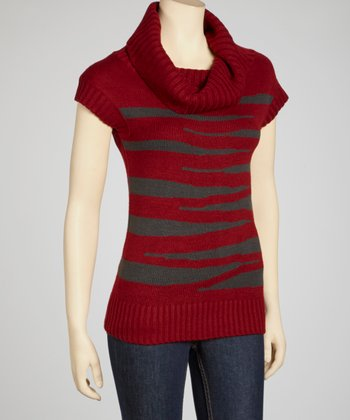 Dark Red & Charcoal Cowl Neck Short-Sleeve Sweater