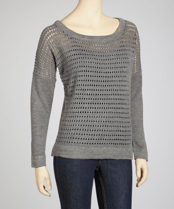 Heather Gray Perforated Sweater