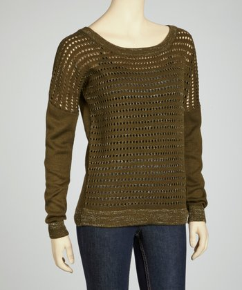 Olive Perforated Sweater