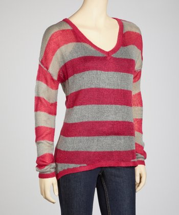 Fuchsia & Heather Gray Stripe Sheer Sweater