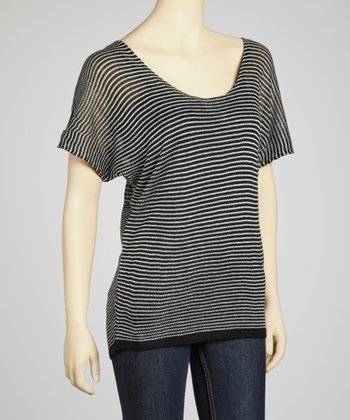 Black & Ivory Skinny Stripe Sheer Short-Sleeve Sweater