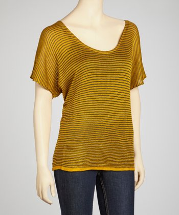 Mustard & Charcoal Skinny Stripe Sheer Short-Sleeve Sweater