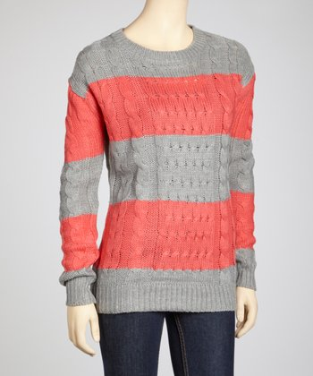 Coral & Heather Grey Bold Stripe Sweater