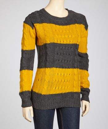 Mustard & Charcoal Bold Stripe Sweater