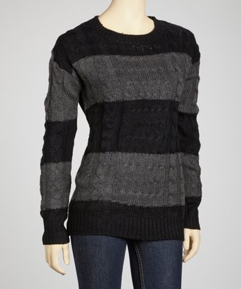 Black & Grey Bold Stripe Sweater