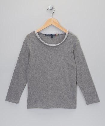 Heather Gray Raw-Edge Tee - Girls