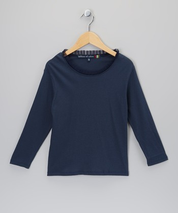Indigo Raw-Edge Tee - Girls
