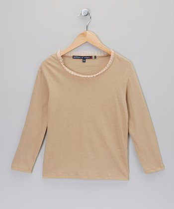 Tan Raw-Edge Tee - Girls