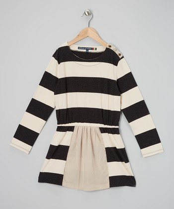 Black & White Stripe Button Dress - Girls