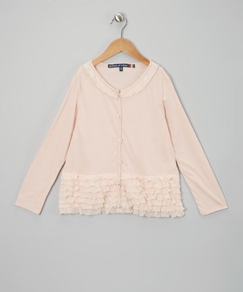 Pink Ruffle Cardigan - Girls