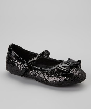 Black Glitter Ballerina Bow Mary Jane