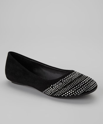Black Studded Stripe Flat