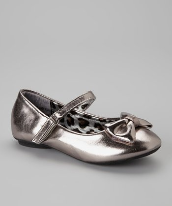 Pewter Metallic Bow Mary Jane