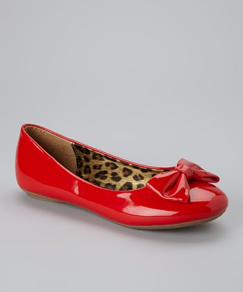 Red Patent Bow Flat