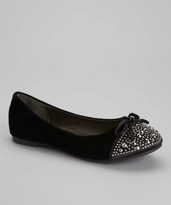 Black Studded Toe Flat