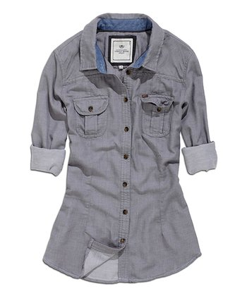 Gray Button-Up