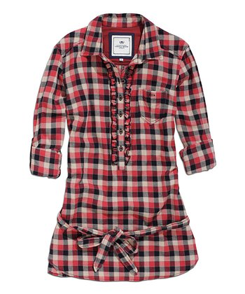 Red Tie-Waist Plaid Ruffle Top