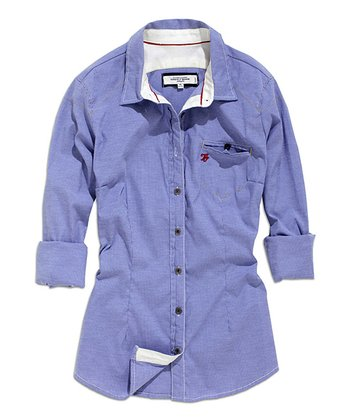 Blue Button-Up