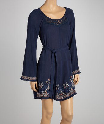 Navy Peasant Tie-Waist Dress