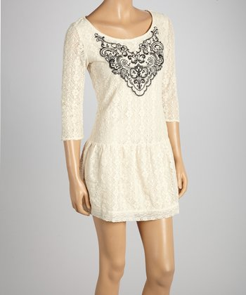 Beige Lace Filigree Drop-Waist Dress
