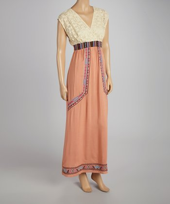 Peach Lace Panel Maxi Dress