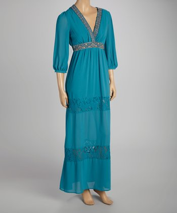 Teal Peasant Surplice Maxi Dress