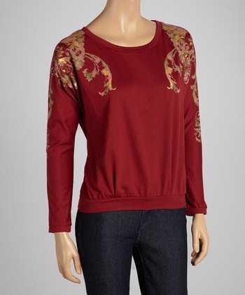 Burgundy & Gold Filigree French Terry Pullover