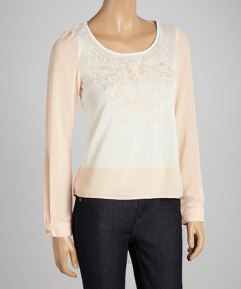 Blush & Beige Floral Embroidered Top
