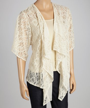 Ivory Open-Placket Cap-Sleeve Cardigan