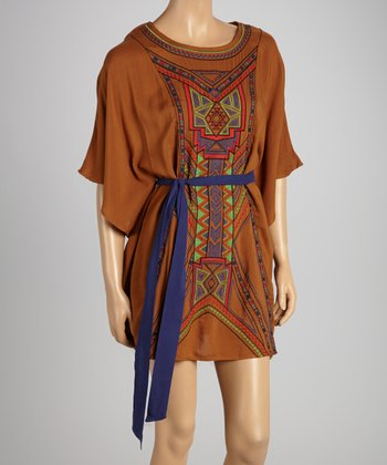Camel Tribal Tie-Waist Dress