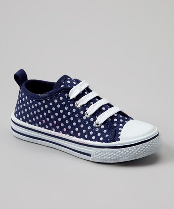 Blue & White Polka Dot Slip-On Sneaker