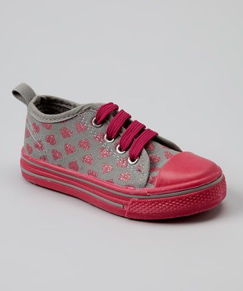 Gray & Pink Hearts Slip-On Sneaker