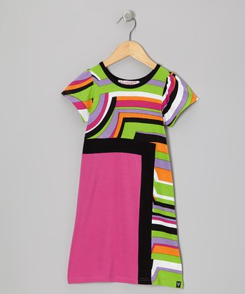 Pink & Green Stripe Jade Cap-Sleeve Dress - Girls