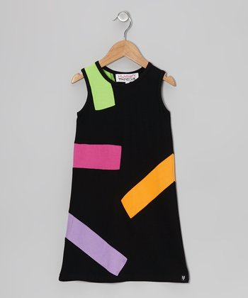 Black Color Block Daisy Tank Dress - Girls
