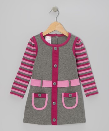 Gray Stripe Long-Sleeve Dress - Infant
