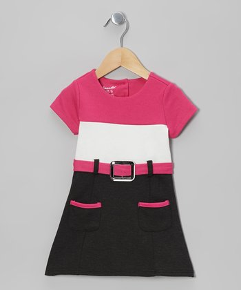 Pink Color Block Belted Cap-Sleeve Dress - Girls
