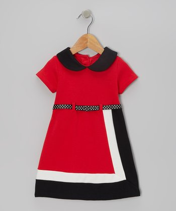 Red Color Block Belted Dress - Girls