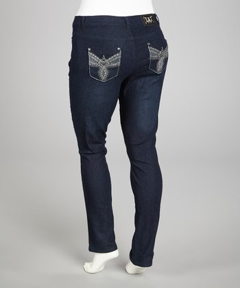 Dark Blue Embellished Straight-Leg Jeans - Plus