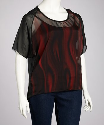Black & Red Abstract Sheer Top - Plus