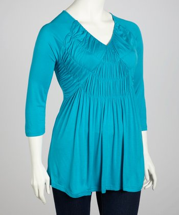 Blue Bird Ruffle V-Neck Top - Plus