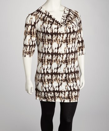 Brown & White Abstract Tunic - Plus