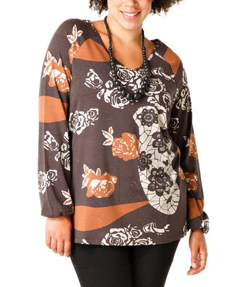 Cognac Floral Babette Top - Plus