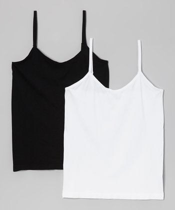 Black & White Seamless Camisole Set - Plus