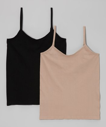 Café & Black Seamless Camisole Set - Plus