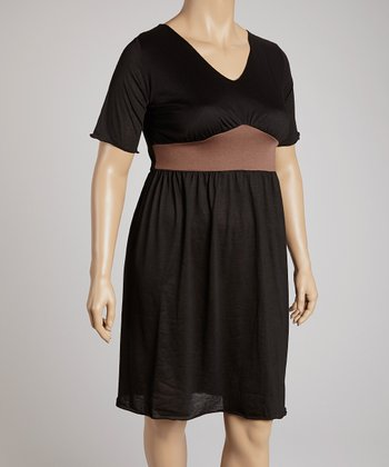 Black & Brown Short-Sleeve V-Neck Dress - Plus
