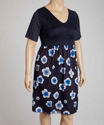 Navy Floral Short-Sleeve V-Neck Dress - Plus