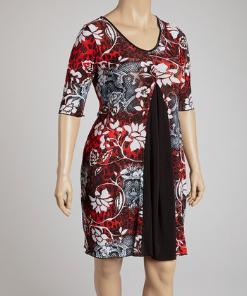 Red & Black Floral Scoop Neck Dress - Plus